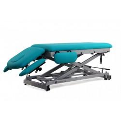 Camilla eléctrica multifuncional para osteopatía de 7 secciones, en tijera, con regulación de altura motorizada y ruedas