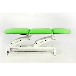 Camilla eléctrica tipo sillón de 3 secciones con ruedas escamoteables y respaldo reclinable en negativo
