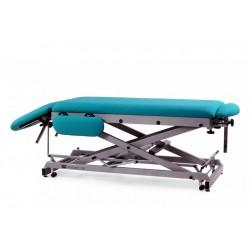 Camilla hidráulica multifuncional para osteopatía de 7 secciones, ruedas. Estructura en tijera