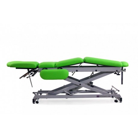 Camilla hidráulica multifuncional para osteopatía de 9 secciones y ruedas. Estructura en tijera