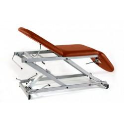 Camilla hidráulica de reconocimiento tipo sillón de 3 secciones con portarrollos y tapón facial.