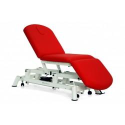 Camilla eléctrica tipo sillón de 3 secciones con ruedas y respaldo reclinable en negativo