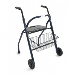 Andador de acero pintado plegable, con asiento, respaldo y cesto