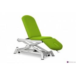 Camilla de osteopatía eléctrica de 3 secciones, con respaldo abatible, subida recta y ruedas