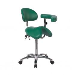 Taburete pony silla de montar base aluminio con respaldo y brazo multifunción
