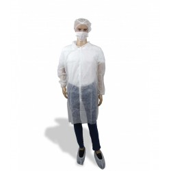 Kit de protección polipropileno BLANCO (Bata, cubrezapatos, gorro y mascarilla simple)