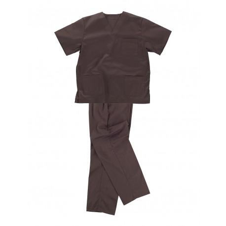 Pijama sanitario cuello de pico Marrón