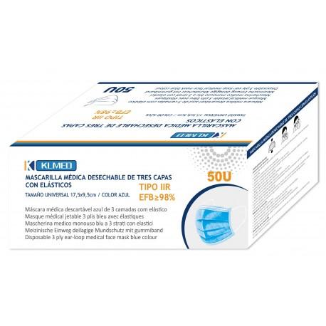 Caja de50 mascarillas quirúrgicas 3 capas TIPO IIR